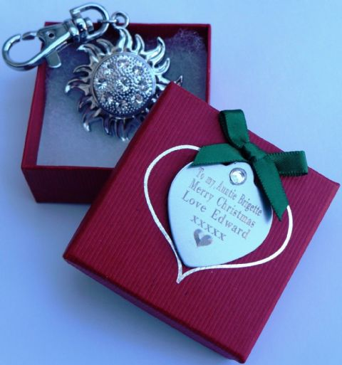 PERSONALISED  AUSTRIAN CRYSTAL SUN  BAG  OR KEY CHARM